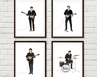 Beatles Art, Beatles Prints, The Beatles Set of Four Minimalist Prints, Beatles 1964 Art Prints, Beatles Portrait Art