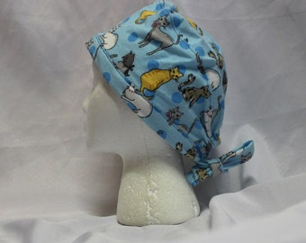 Light Blue Cats FLANNEL Surgical Scrub Cap Chemo Hat