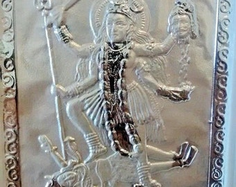 hindu goddess kali 999 pure silver plaque in clear frame