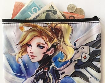 Mercy overwatch zippered pencil cosmetic fabric bag pouch