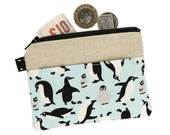 Cute coin pouch, Coin purse, Zipper pouch, Change Purse, Card holder wallet, Fabric purse, Gift for Her, Teacher Gift, Sister Gift, Penguin