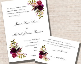 Romantic Purple Wildflower Wedding Invitation Set - PRINTABLE - Digital Files