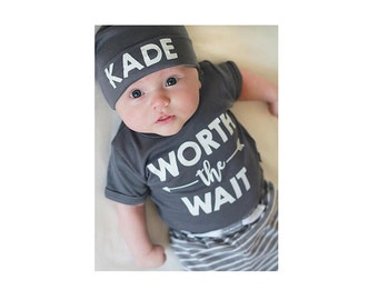 Custom Worth The Wait Baby Clothes. Cute Baby Boy Set. Baby Coming Home Outfit. Personalized Baby Clothes. Baby Shower Gift. Add Your Name