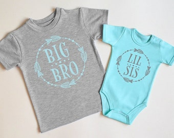 Big Brother Little Sister Shirts. Matching Outfits For Big Brother And Little Sister. Big Bro Shirt And Lil Sis Baby Bodysuit.