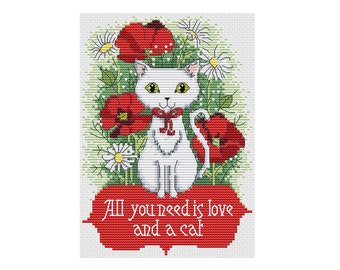 All You Need is Love and a Cat - Durene J Cross Stitch Pattern - DJXS 2208
