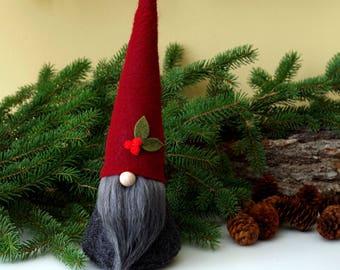 Christmas Holly Nordic Gnome ~ Santa