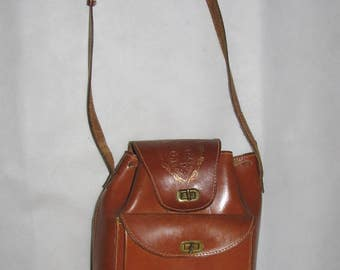 Leather BAG crossbody VINTAGE bag brown leather retro hippie long strap BAG 80s rare cut bag