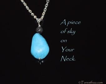 Torquoise, minimalist necklace, blue stone jewelry, blue necklace, silver necklace, torquoise color, handmade jewelry, torquoise color stone