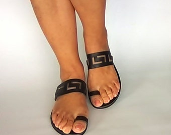 Toe ring sandals, Greek sandals,meander sandals,ancient greek sandals, Leather sandals women, Sandals, Leather sandals,handmade sandals