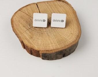 DELETE Computer Key Earrings