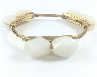 Cream Nugget Gemstone Wire Wrapped Bangle - Wire Jewelry - Gift for Her - Bridal Jewelry - Custom - Gift Under 20 - Courtney And Courtnie