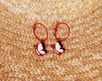 Red white black  butterflies vintage beautiful hoop earrings.