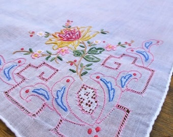 Vintage Cotton Hankerchief with Fine Embroidery and Pulled Thread Work  30cm sq