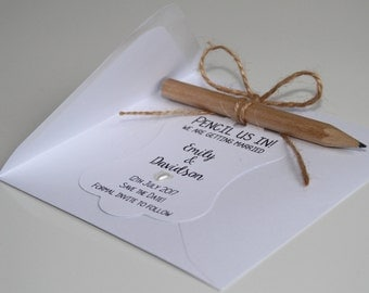 Personalised Wedding Pencil Us In Save The Date Invitation Card with Envelope