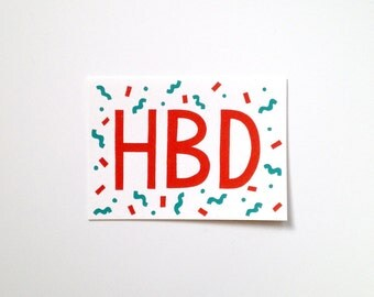 Screen Printed Birthday Card - HBD