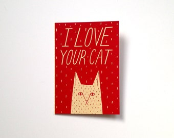 Screen Printed Valentines Card - I Love Your Cat
