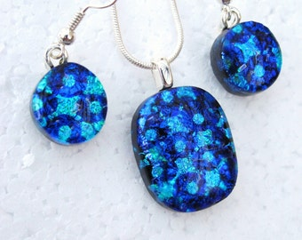 Love - Beautiful Fused Glass, Dichroic Pendant and Earring set