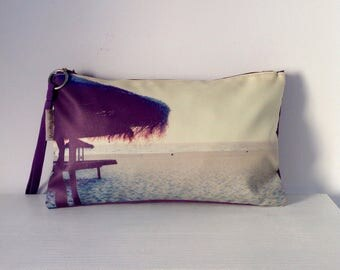 Hand bag digital print Clutch  Beach umbrella  OOAK FREE SHIPPING
