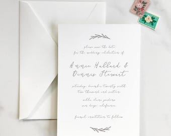 Rustic, Elegant - Classic Calligraphy - Hand-Drawn Olive Leaves Laurel - Save the Date - DEPOSIT for Print Order