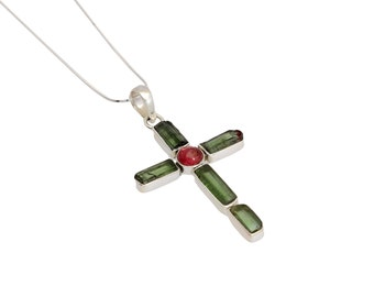 cross necklace for women, Christian jewelry, tourmaline pendant, sterling silver, gemstone cross, tourmaline necklace, cross jewelry