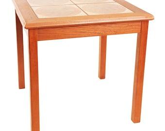 Danish Modern TEAK SIDE TABLE ~ Tile Top wood mid century vintage living room brown orange end 15294