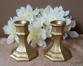 Set of 2 Gold Candle Holders; Gold Candle Holders; Wedding Candle Holders