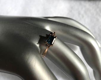 14k Rose Gold Tourmaline Ring w/ diamonds Size 7.5