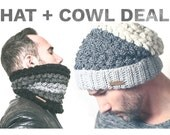 Crochet Pattern Hat and Cowl - GREYSTOKE Hat + Cowl Pattern deal. Slouchy Beanie pattern Slouchy Hat, Cowl.