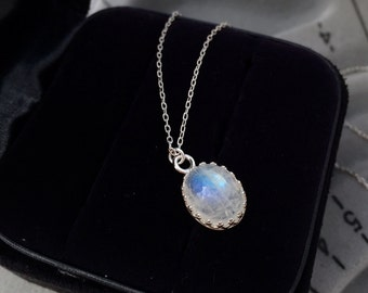 Oval Rainbow Moonstone Necklace in Silver, Birthstone Necklace, June Birthstone - for Her, byJTSjewelry