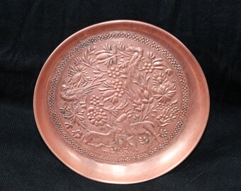 Vintage Persian Copper Tray with Deer Birds Flowers and Vines