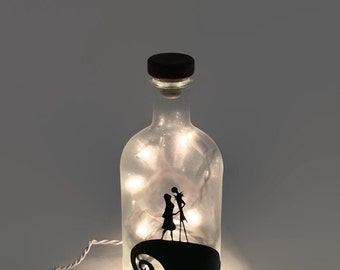 Nightmare Before Christmas Wine Bottle Lamp / Jack and Sally /