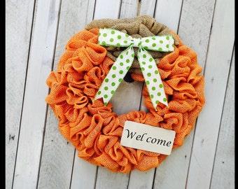 Pumpkin Mini - Burlap Pumpkin - Fall wreath, Pumpkin wreath, burlap fall wreath, Thanksgiving pumpkin wreath