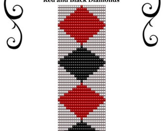 Loom Bead Pattern Red and Black Diamonds