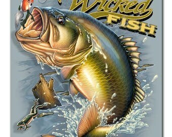 "Metal Sign "" Fishing Large Mouth Bass Wicked Fish "" 12""x15"" Man Cave"