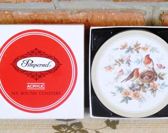 Pimpernel Robin & Roses 1982 round cork backed coasters in original box made in England, housewarming gift idea