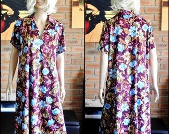 Belle Dame of Melbourne size 16 vintage 1970s floral shift dress, house dress, front pockets
