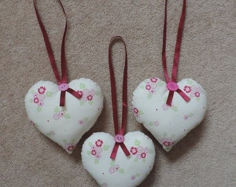 Fabric floral Hanging hearts, Hanging Heart decoration.  Mother's Day Gift. Set of 3. Handmade