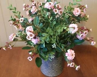 Pink Pom Pom Rose silk floral arrangement