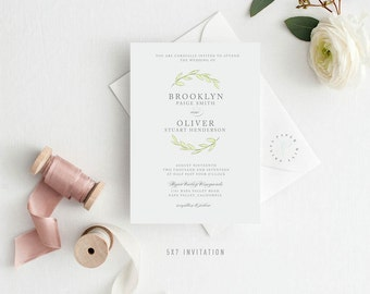 BROOKLYN SUITE || Printable Wedding Invitation, RSVP card, Insert card, Simple, Leaves, Laurels, Classic