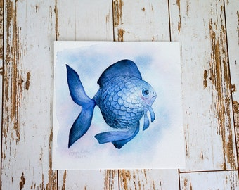 original watercolor painting of a blue fish