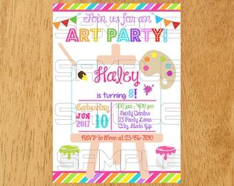 Art Birthday Party Invitation, Paint Birthday Party Invitation, Paintbrush birthday,