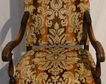 Vintage Arm Chair with Tapestry Fabric with Orange Undertones, Very Sturdy #2053