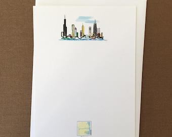 "Red Maps ""Chicago Skyline"" Flat Card Stationery Set"