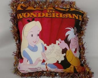 Alice In Wonderland Disney Throw Pillow 16 x 16 Fringe Movie Cushion