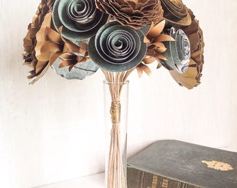 Antique Gold and Green Rustic Paper Flower Posy
