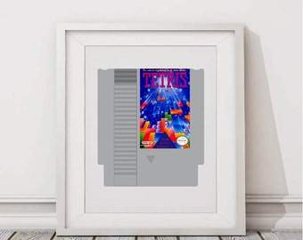 NES Tetris Cartridge Printable Art, Nintendo Entertainment System, Instant Download Digital Art, Oldschool Retro Gaming, 8x10