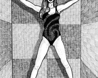 Untitled - fine art print, wall art print, fantasy art, space art, figure drawing, female figure, perspective drawing,