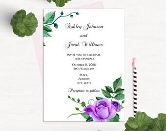 Purple and green wedding invitation printable Purple roses wedding invitation printed Floral wedding invitation card Template invites 1W49