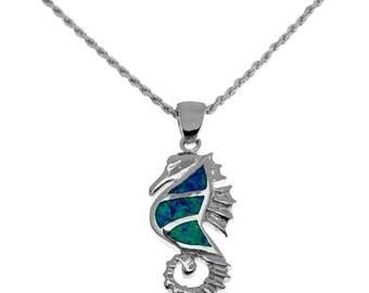 silver blue opal sea horse pendant,sea horse necklace,silver sea horse ,walrus jewelry,blue opal jewelry,sea animal jewelry, silver walrus