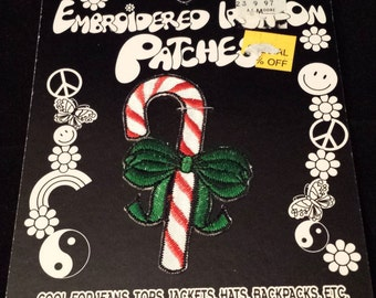 """Vintage 1996 Kalan Candy Cane w/Ribbon Embroidered Iron-On Patch, 2-3/4"""" Tall"""